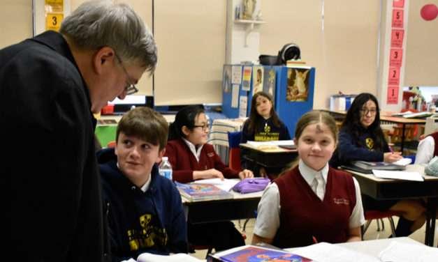 Bishop Schlert visits students at St. John Vianney Regional School