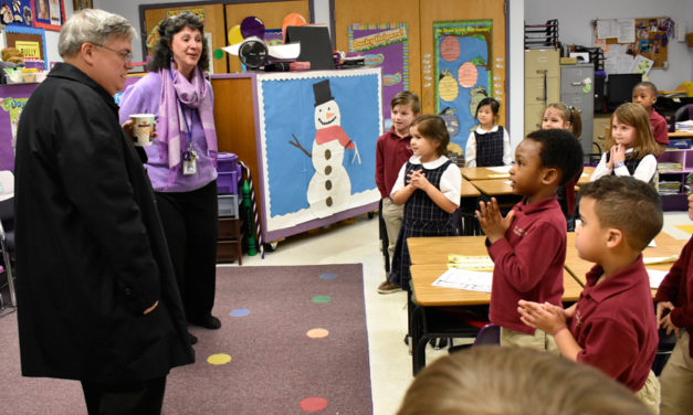 Bishop Schlert visits students at St. John Vianney Regional School